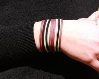 Bracelet Manchete Emma suede bordeaux beige and black
