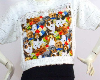 White knitted sweater Cute dogs Grounds