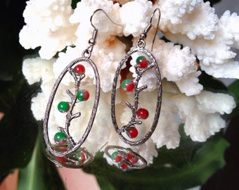 Unique Earring,Wire Wrapped Earring gemstone beads