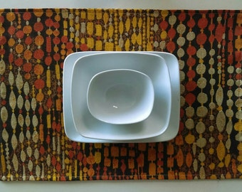 Set of 4 Handmade Printed Linen Placemats