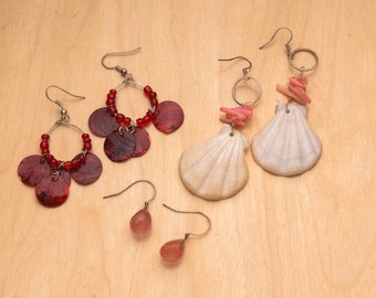 3 pair of earrings with Strawberry Quartz
