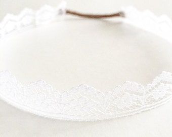 White Lace wrap around baby headband