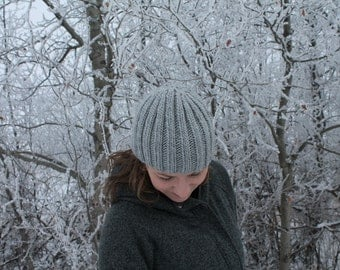 Hand Knit Ribbed Winter Hat
