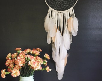 "White Leather Dream Catcher. 10"" x 28"". Handmade. Wall hanging."