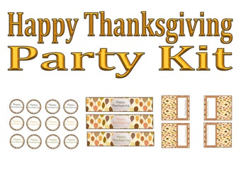 Happy Thanksgiving Party Kit- INSTANT DOWNLOAD!!
