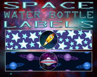 Rocket Space Adventure Water Bottle Labels- INSTANT DOWNLOAD!!