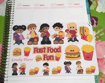 Planner Stickers: Fast food fun sticker sheet