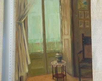 Interior room - window view - oil on wood