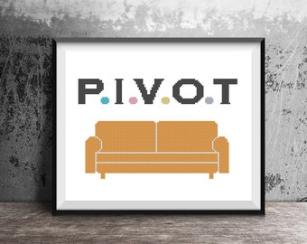 Quote - Friends TV Show -  Pivot Orange Couch Text Quote Counted Cross Stitch Pattern - PDF Digital Download