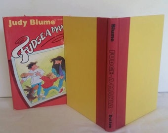Vintage Judy Blume Childrens Book Fudge-a-Mania, 1990, Red Hardcover Dutton