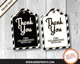 PRINTED Favor Tags - Black and White with a touch of Gold | Black or White Background | Printed & Ready to Use!