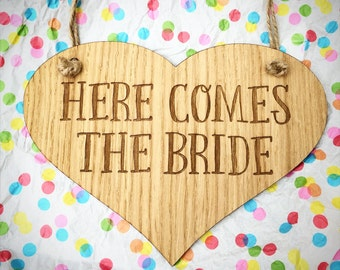 Here comes the Bride sign, Wedding Sign, Flower Girl Sign, Bridesmaid sign, Ring Bearer, Wedding decor, Rustic wedding, Here comes the Bride