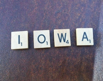 "wood ""IOWA"" magnetic scrabble tiles"