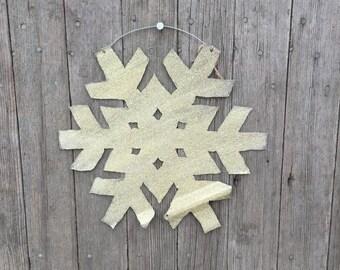 Gold snowflake, tin snowflake, shabby christmas decor, shabby Christmas,