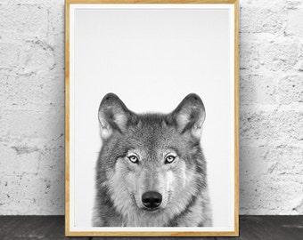 Woodland Animals, Woodlands Decor, Wolf Print, Kids Room Print, Baby Animal Print, Baby Wolf Print, Animal Nursery, Nursery Printable,
