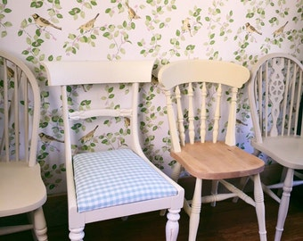 Four Mismatched Chairs ~ Hand Painted Set of Four mismatched Shabby Chic Dining Kitchen Chairs~ Sourced To Order