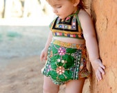 18-24 months, Extra High Waist Banjara Kantha Bloomers Beach Shorties, Hippie Baby, 18 Month Diaper Cover, Hippie Bloomers, Bohemian Baby