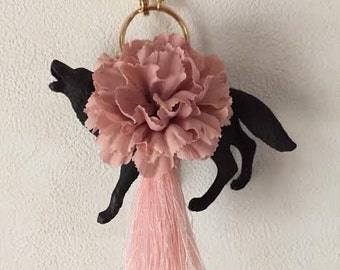 Blackwolf bag charm, black wolf, bag charm