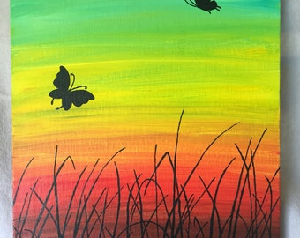 Butterflies at Dawn - silhouette - wall art - acrylic painting - canvas board