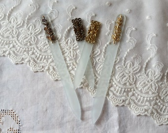 Crystal Glass Nail File, Mont Bleu Quality Czech Glass, Crystal Nail File with Brass Filigree, Manicure, Nail Care