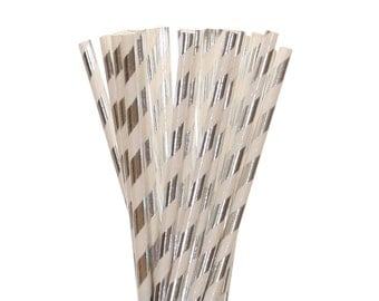 Paper Straws, Silver Foil Striped Paper Straws, Silver Sweet 16 Party Decor, Silver Bling Bachelorette Straws, Glam New Years Party Supplies