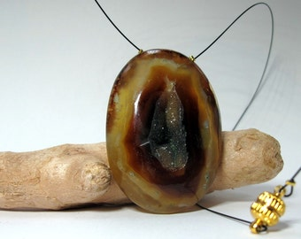"""Natural agate pendant necklace """"The big stone"""""""