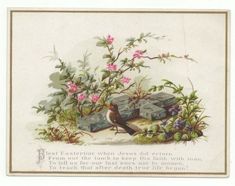 3 Victorian Easter Cards: -Cross, Birds, Eggs and Flowers