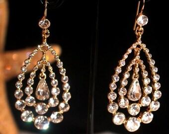 gold bridesmaids earrings, gold rhinestone earrings, gold bridal earrings, gold wedding earrings,  gold prom earrings