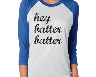Hey Batter Batter - UNISEX 3/4 sleeve triblend raglan tee