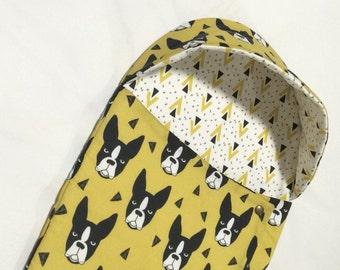 Modern Mustard Yellow - Boston Terrier Swaddle Blanket/Sleep Sack