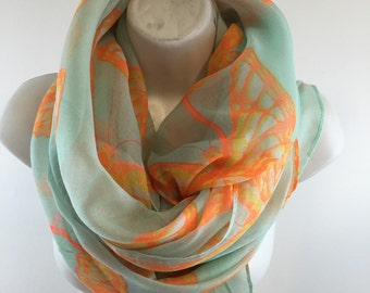 Bright Neon Orange Butterfly Scarf with Mint Green Base Shawl Wrap