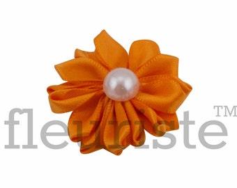 ORANGE Ribbon Flower With Pearl, Satin flower, Fabric rose, Rolled Rosette, Wholesale Flower, Fabric Flower, Satin Flower, 3pc