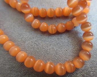 Orange Cat's Eye Round 4mm Beads 105pcs