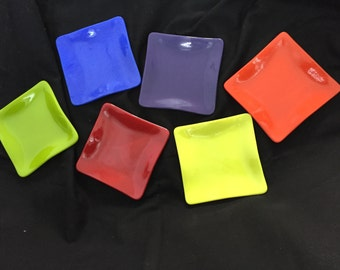 "Set of 6 Colorful, Festive Fused Glass Appetizer or Dessert Dishes - 5.25"" square each"
