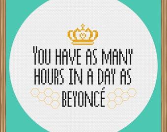 Beyoncé cross stitch pattern (motivational cross stitch pattern)