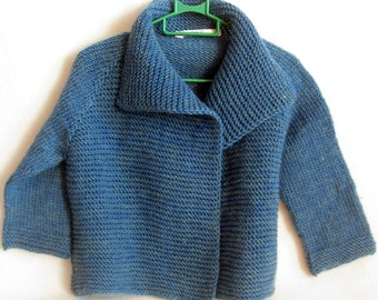 Hand Knit Baby/ Toddler Cardigan/ Fall Winter Cardigan/ Pure Wool Knit Cardigan/Hand Knit Baby/ Toddler Jacket