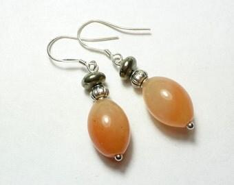 Juicy orange Aventurine and Pyrite Earrings, 925 Silver Ear Hook,
