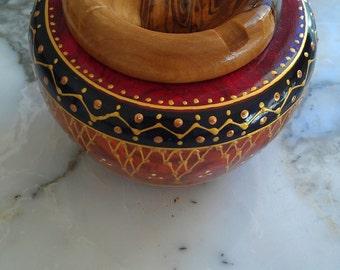 ashtray ash-pin ash-ban cendrier naturel wood oliver green yellow  red orange