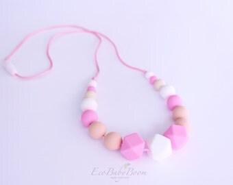 Teething necklace Pink silicone teether breakaway clip mommy baby gift nursing teething