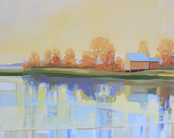 Landscape Acrylic Painting, Yellow and Blue Landscape, Orange and Blue House Original Acrylic Painting on Board by Ezartesa
