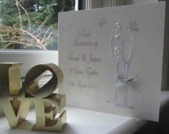 Personalised 30th Pearl Anniversary Card - Flutes Design PPS11P