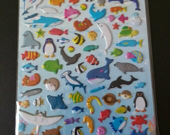 Kids cute stickers- Sea world, Japanese stickers, scrap book, 3D pop up stickers, kawaii stickers