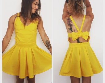 Yellow Sun dress open back with bow