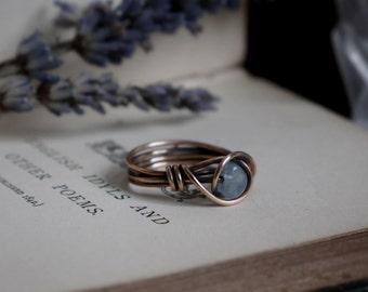 Wrapped Aquamarine Ring - UK Size K