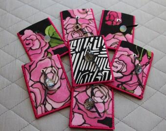 Card Cozie - Roses Design - Wallet - Gift Card Holder - Business Card Holder