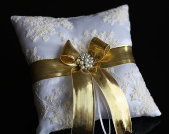 Gold Wedding Ring Pillow \ White Satin Ivory Lace and Gold Accent Ring Holder \ Gold Wedding Ring Bearer \ Gold Ceremony Bridal Pillow