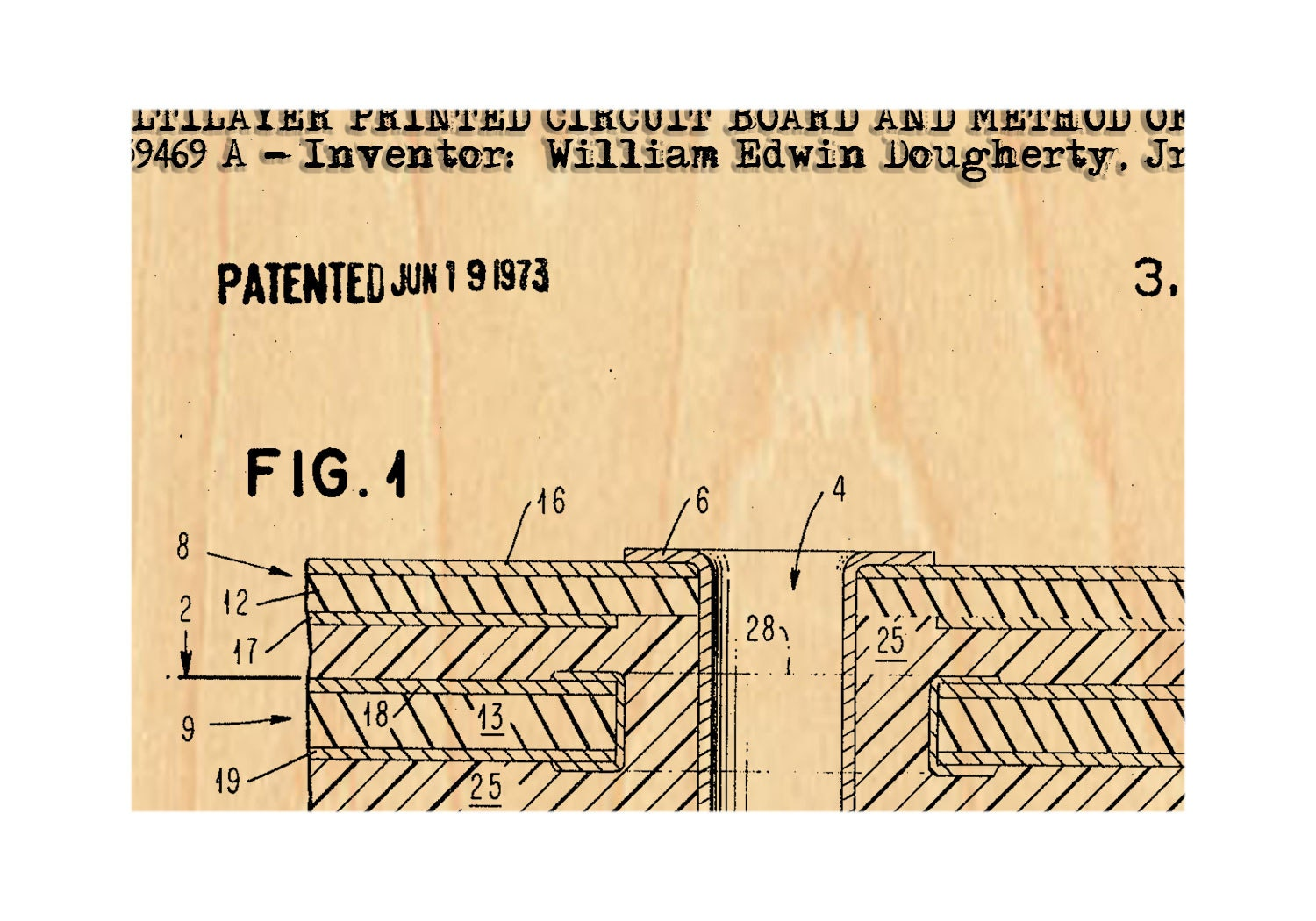 First Circuit Board - Vintage Patent Blueprint - wooden postcard ...