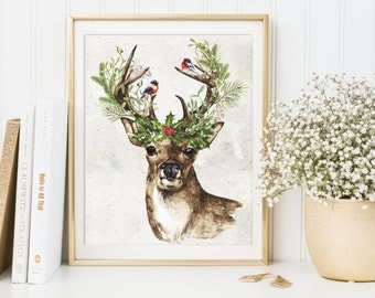Christmas Deer Printable, Deer Antlers Print, Christmas Decoration, Christmas Print, Deer Poster, Holly Decor, Christmas Art, Holiday Decor