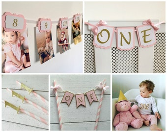 Deluxe First Birthday pack. Pink and gold. Birthday decorations. Girl. Birthday outfit.