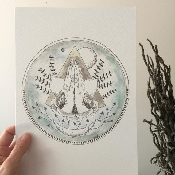 Hands of Many Moons Watercolour A4 Print